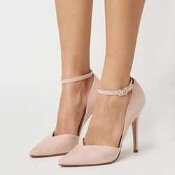 Shoespie Solid Color Curve Tab Ankle Wrap Stiletto Heels