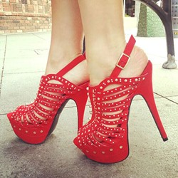 Shoespie Red Rivets Platform Sandals