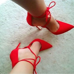 Shoespie Red Lace Up Stiletto Heels
