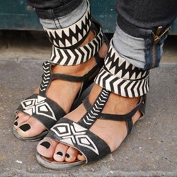 Shoespie Geometric Print Flat Sandals