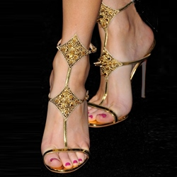 Shoespie Golden Metallic Spikes Dress Sandals