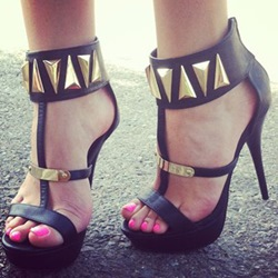 Shoespie Black Metallic Platform Sandals