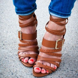 Shoespie Brown Strappy Sandals