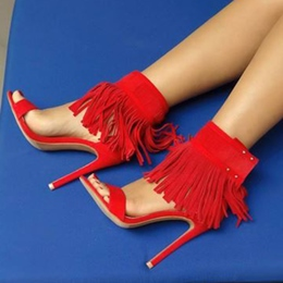 Shoespie Red Fringes Dress Sandals