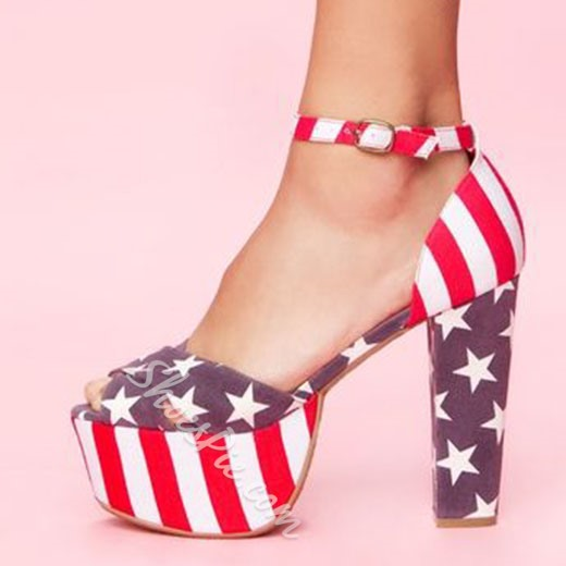 Shoespie Flag Day Color Block Platform Sandals