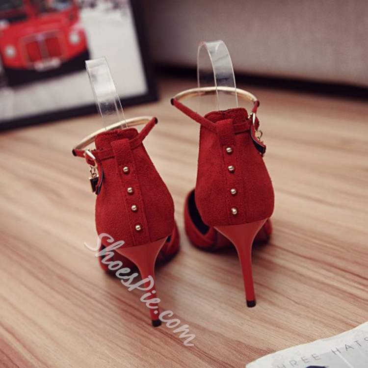 Shoespie Line-Style Buckle Pointed Toe Stiletto Heel