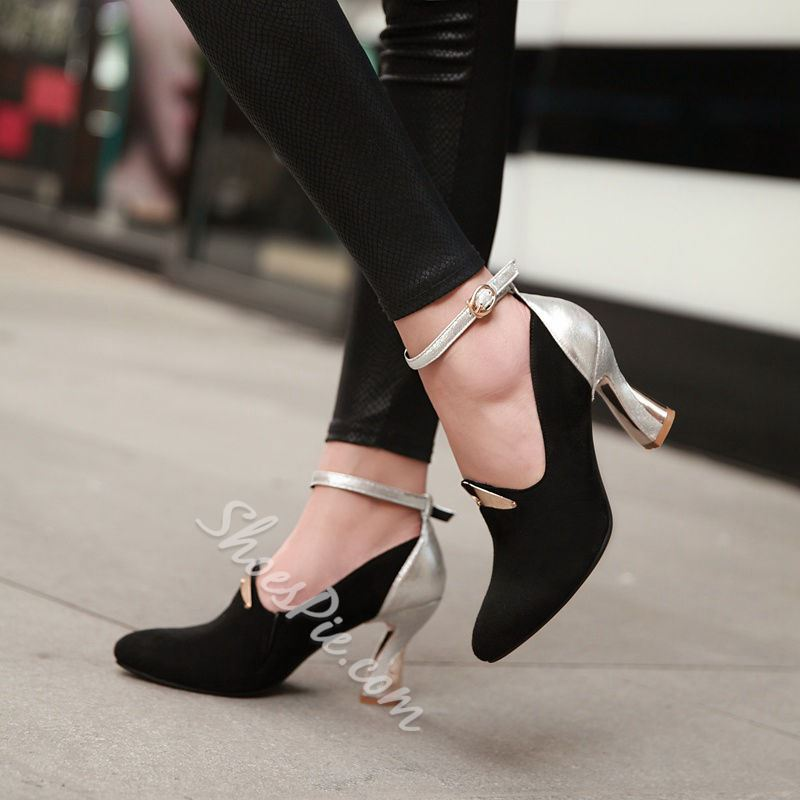 Shoespie Ankle Wrap Low Chunky Heels