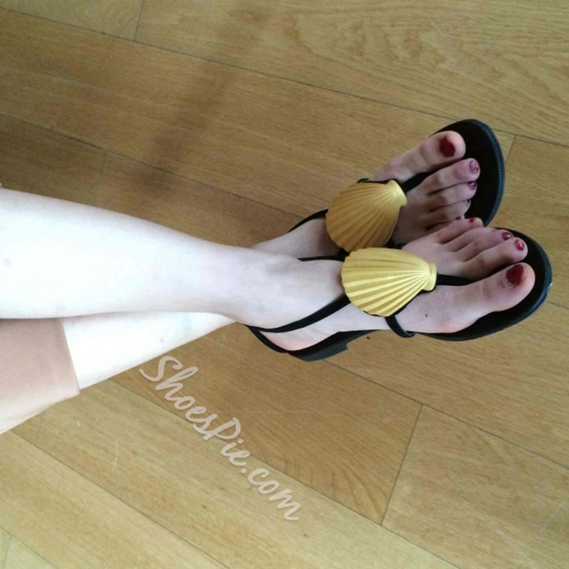 Shoespie Yellow Shells Thong Flat Sandals