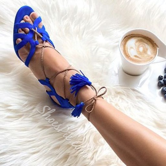 Shoespie Royal Blue Lace Up Sandals