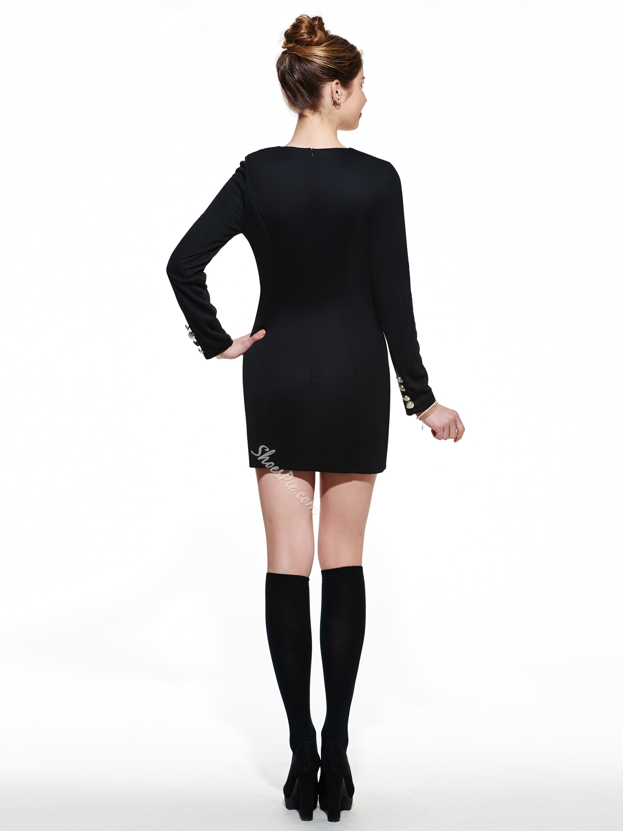 Double-Breasted Long Sleeve Bodycon Dresses