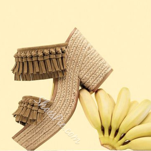 Shoespie Fringes Rattan Grass Heel Wedge Sandals