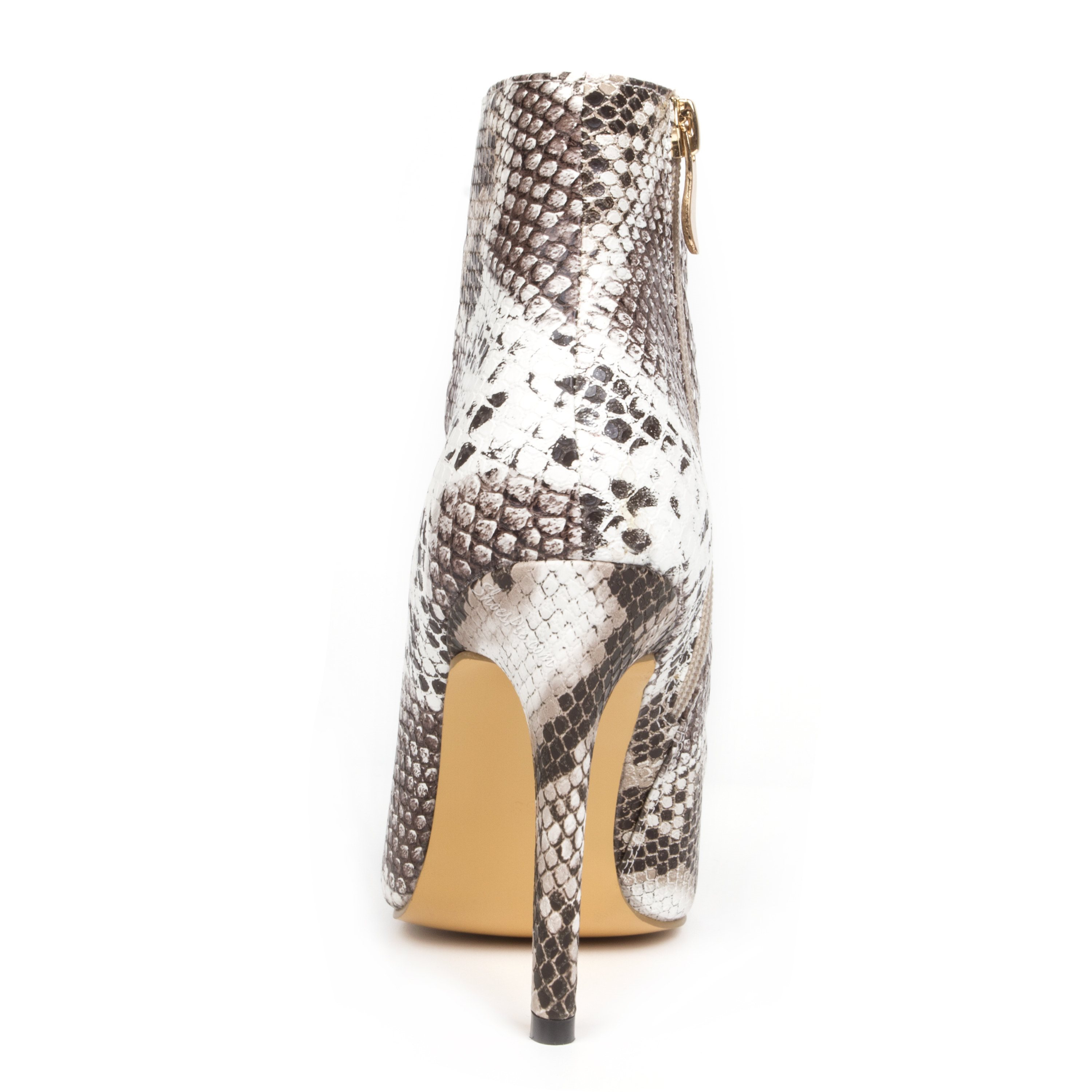 Elegant Snake Skin Ankle Strap High Heel Sandals