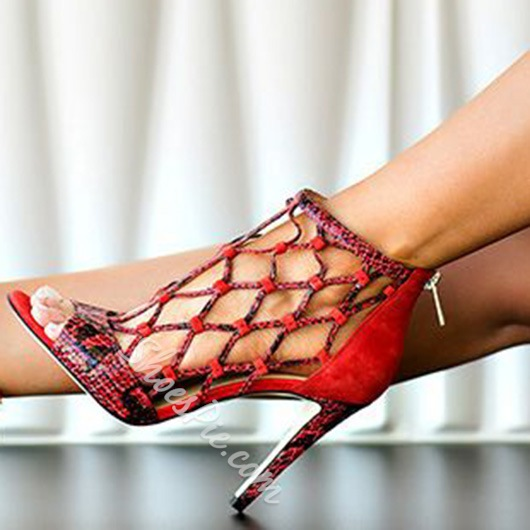 Shoespie Red Caged Sandals
