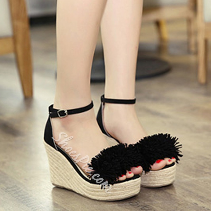 Shoespie Short Fringes Wedge Sandals