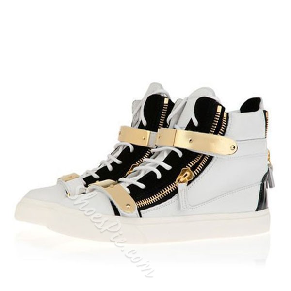 Shoespie Metal Decorated Velcro Men's Skate Sneakers