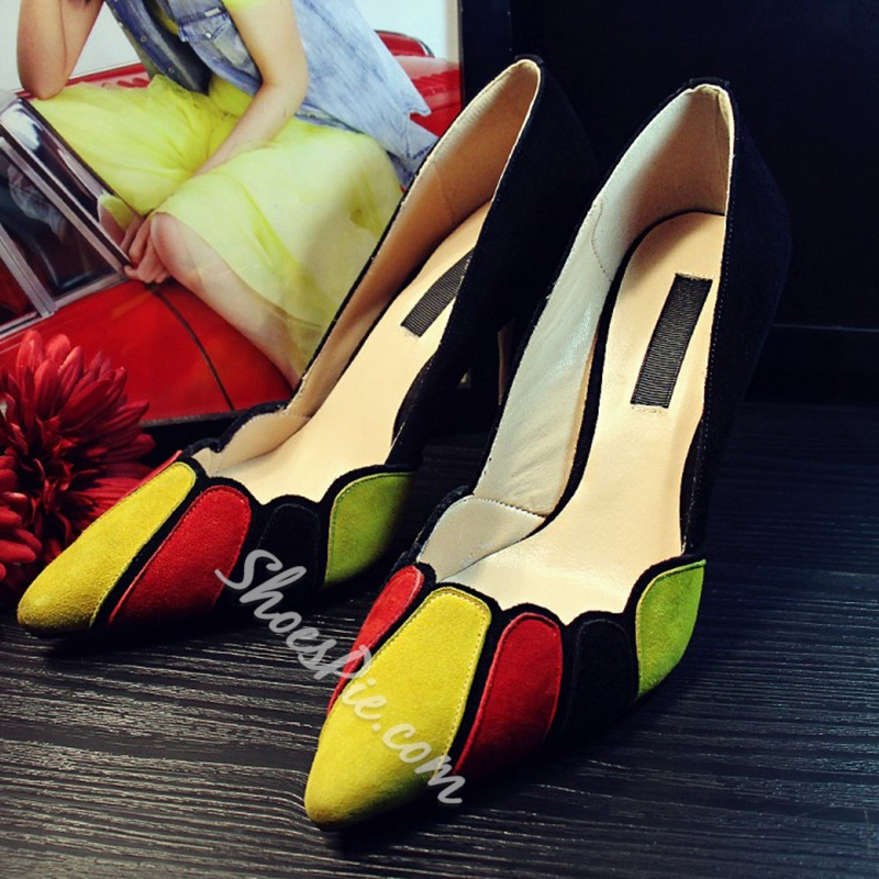 Shoespie Color Block Curve Tab Stiletto Heels