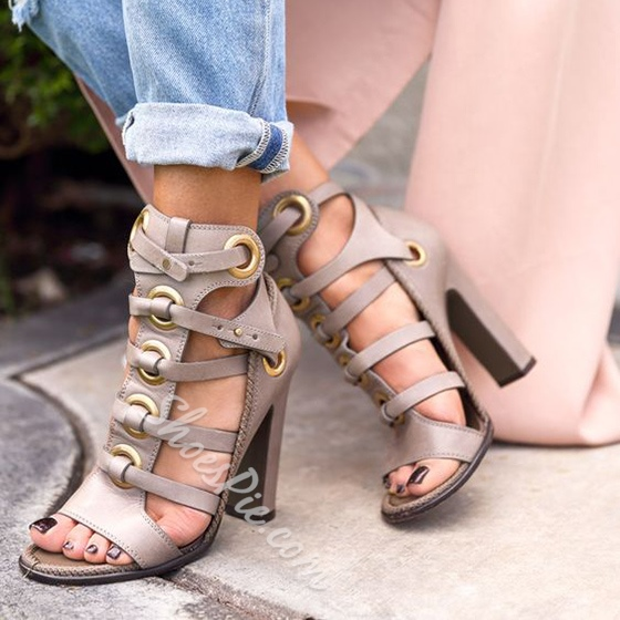 Shoespie Gray Chunky Heel Sandals