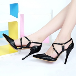 Shoespie Solid Color Cross Strap Stiletto Heels