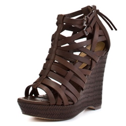 Shoespie Coffee Color Strappy Wedge Sandals