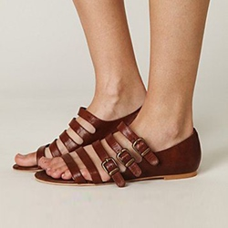 Shoespie Buckles Flat Sandals
