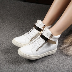 Shoespie Embossed Leather Sneakers