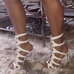 Shoespie White Lace Up Dress Sandals