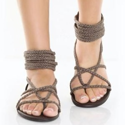 Shoespie Ropes Ankle Wrap Flat Sandals
