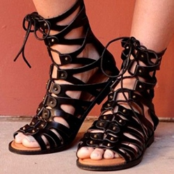 Shoespie Black Lace Up Gladiator Flat Sandals