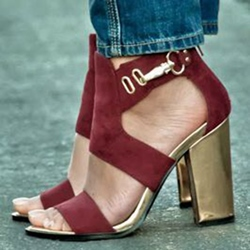 Shoespie Burgundy Chunky Heel Sandals