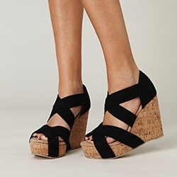 Sheospie Black Strappy Wedge Sandals