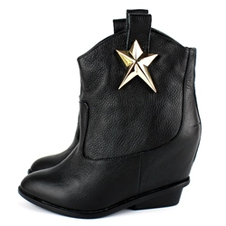 Shoespie Star Embellished Ankle Boots