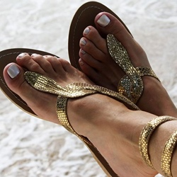 Shoespie Golden Snake Strappy Flat Gold Sandals