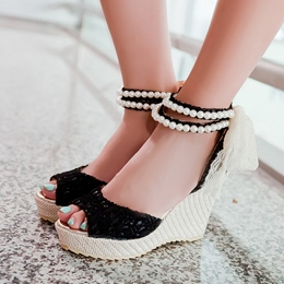 Shoespie Beading Ankle Wrap Wedge Sandals
