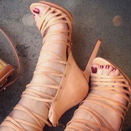 Shoespie Apricot Lace Up Sandals