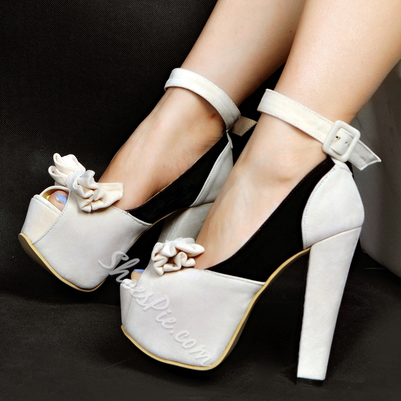 Shoespie Sweet Bowtie Color Block Peep Toe Platform Heels Shoespie