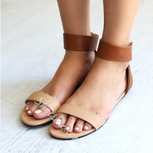 Shoespie Ankle Wrap Flat Sandals