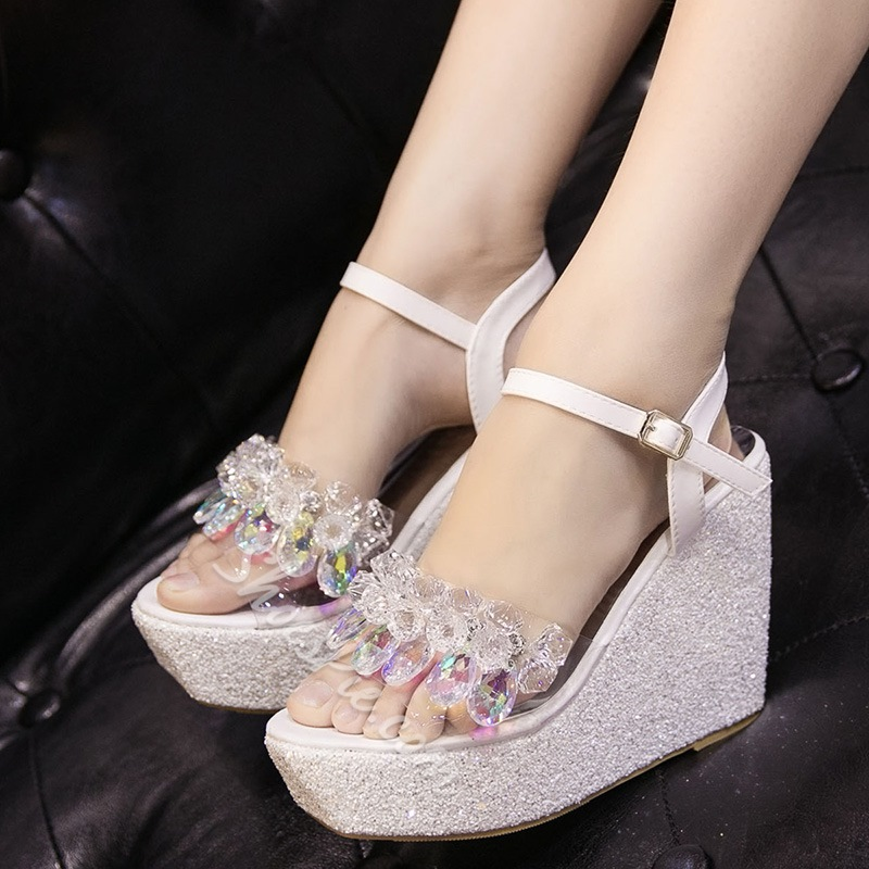 Shoespie Crystal Sequined Wedge Sandals