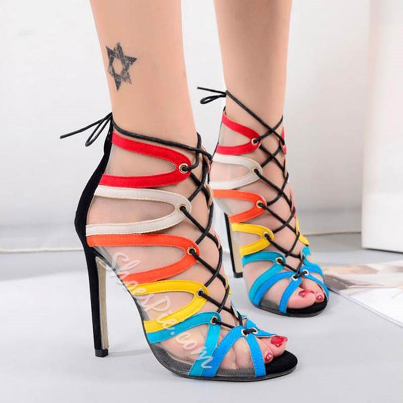 Shoespie Corlorful Lace Up Dress Sandals