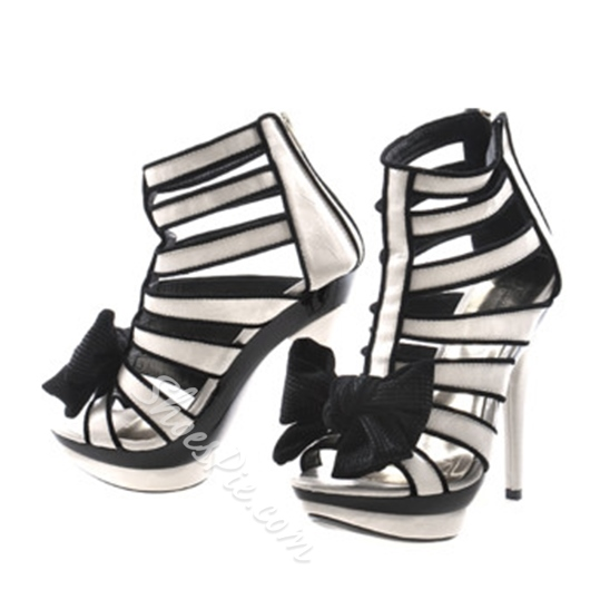 Shoespie Black and White Bows Platform Sandals