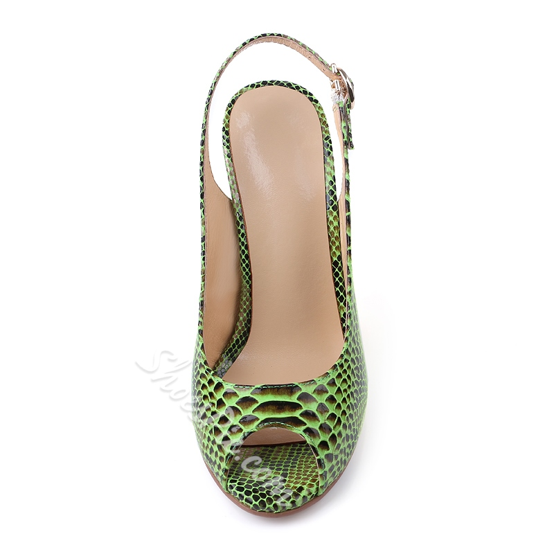 Shoespie Snake Effect Peep Toe Slingback Stiletto Heels