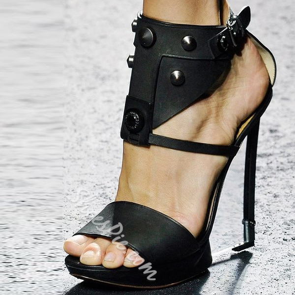 Shoespie Black Rivets Platform Sandals