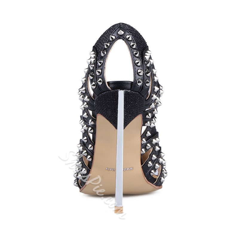 Shoespie Classy Rivets Cutout Peep Toe Stiletto Heels