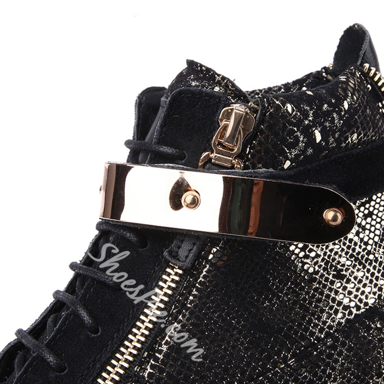 Shoespie Black Sequined Sneakers
