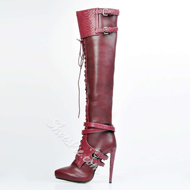 Shoespie Wild Moto Buckle Stiletto Heels Knee High Boots