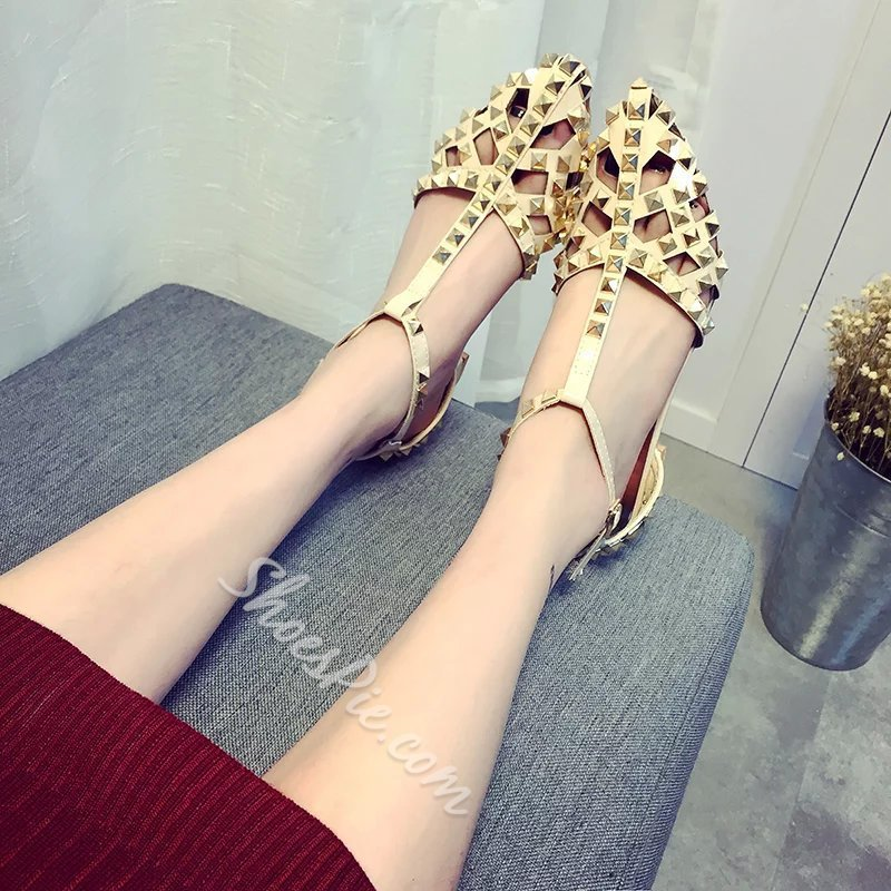 Shoespie Cutout Rivets Loafers
