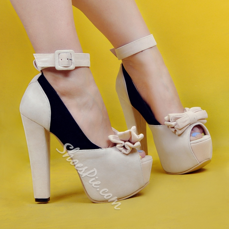 Shoespie Sweet Bowtie Color Block Peep Toe Platform Heels