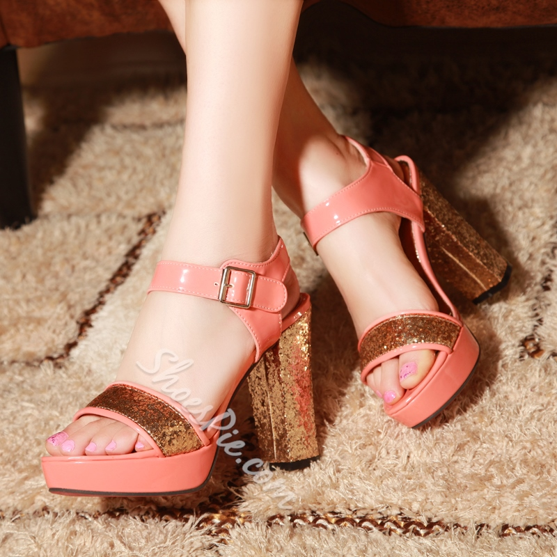 Shoespie Sequined Chunky Heel Sandals