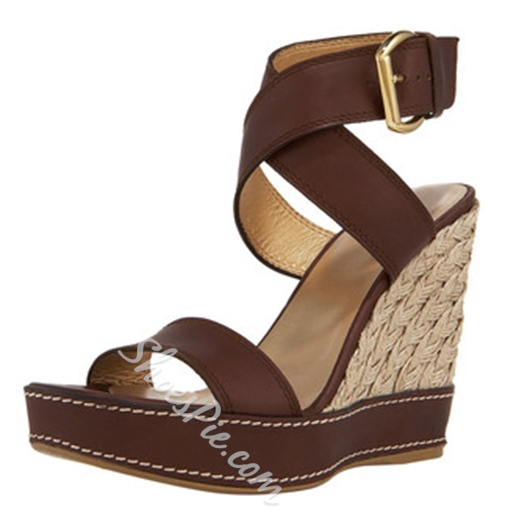 Shoespie Cross Strap Wedge Sandals