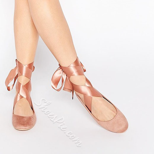 Shoespie Pink Lace Up Ballet Shoes