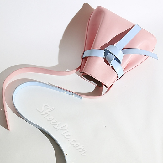 Shoespie Simply Candy Color Wide Gridle Bucket Bag